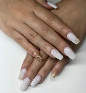 Long Milky White Gel X Nail Extensions & Gold Flake Accents