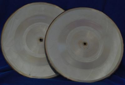 "10"" metal plates for the making of 7"" records. Shown, side A and B of a Hendrix single."
