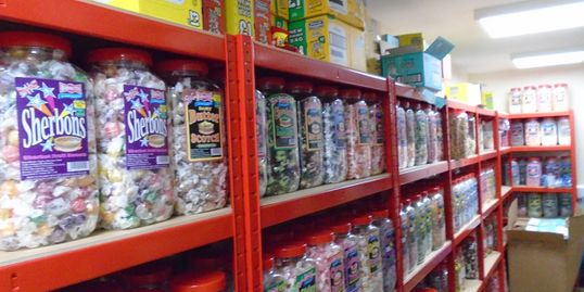 A small section of our warehouse devoted to Barnett Confectionery products.