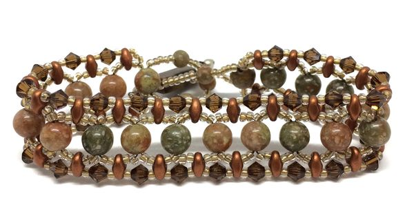 Autumn Jasper and crystal bracelet