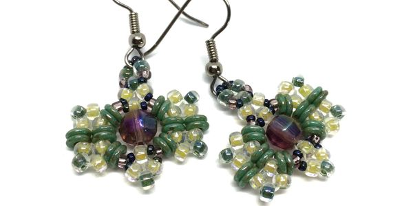 Green, lavender, and yellow beaded earrings