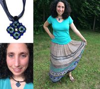 Creative Obsession necklace matching colorful skirt for custom jewelry.
