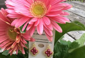 Pink flower with pink earrings
