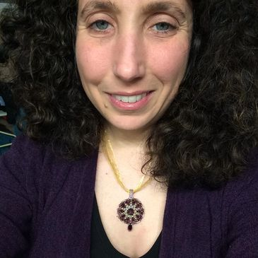 Woman wearing Purple Mandala Pendant Necklace