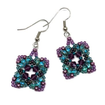 Aqua and Purple Earrings