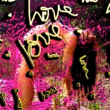 Graffiti art of LOVE by the artist Deprise features the yogi in camel pose a real heart opener.