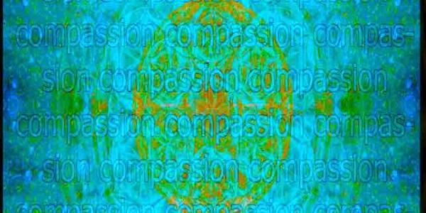Compassion in green and blue by the artist Deprise