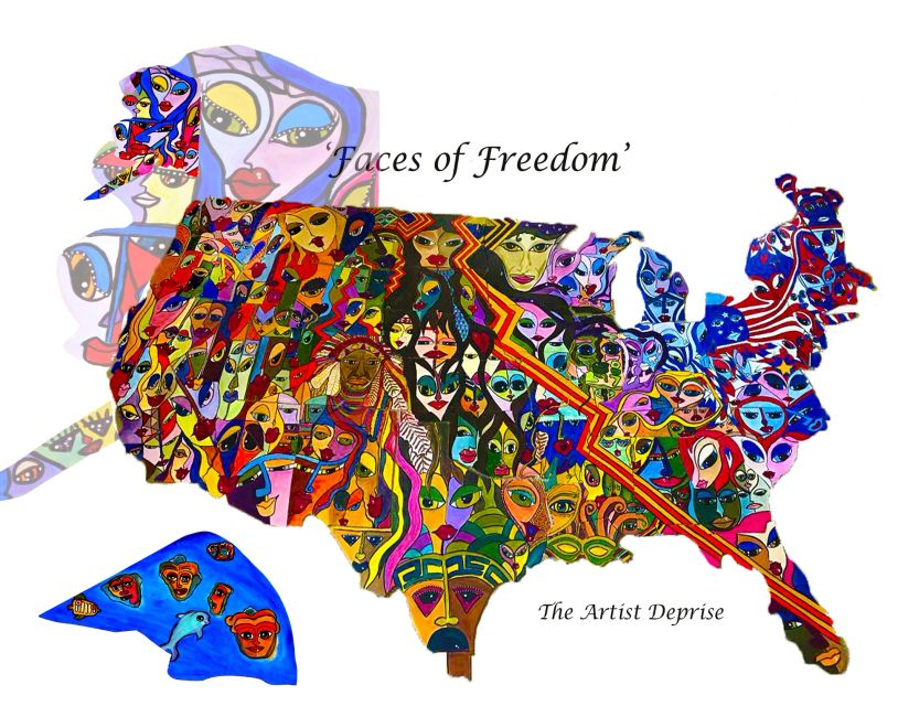 Giant Art Mural of the American people on a jigsaw puzzle of the United States by the Artist Deprise