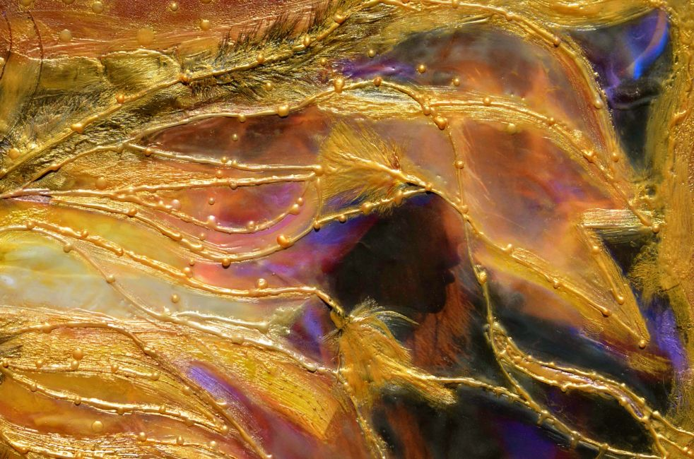 Detail from the Alchemist, an original encaustic work of art by the artist Deprise Brescia.