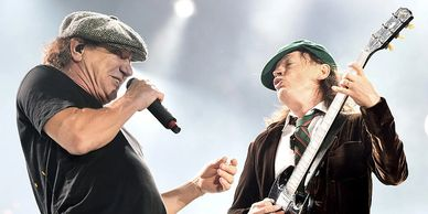 Niclas Nick Herle and ACDC lead singer Brian Johnson