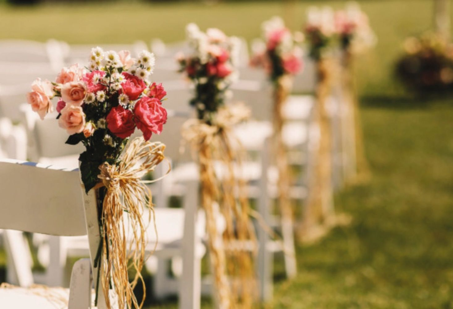 Rows of wedding guest chairs with flower posies