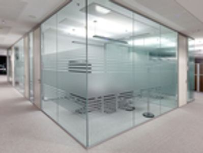Corner Glazed Office in Toughened Glass with Privacy Banding