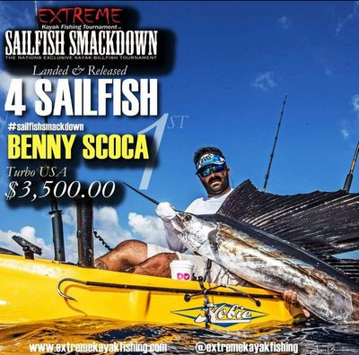 Captain Benny with a sailfish during the  Extreme Kayak Sailfish Smackdown