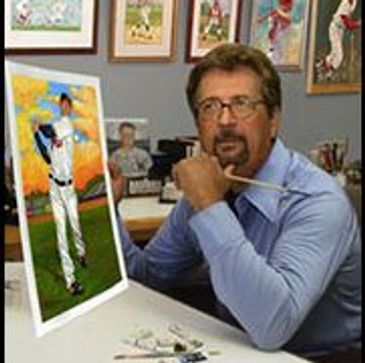 Dick Perez a American artist known for his baseball paintings for the Hall of Fame, Topps, Donruss.
