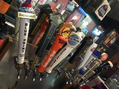 beer on tap, blue point, lager, shock top, ipa, blue moon, Busch, stella artois, Guinness, import