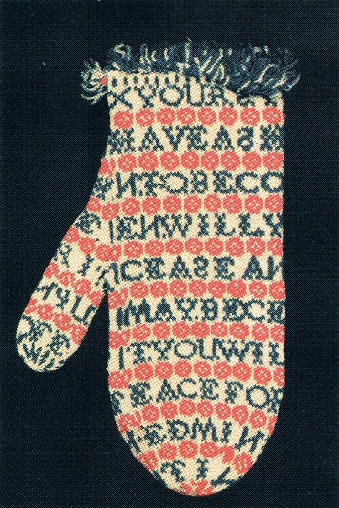 Never Trouble Trouble! 1904 Mitten from Susanna Springer collection. 12-15 stitches per inch.