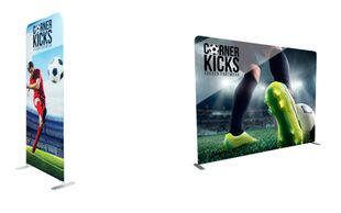 banner graphics, pillowcase graphics, media wall, tension fabric backwall, easy pop up display