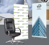 home office backwalls, banner stands with logos, video logo backwalls, retractable logo banner stand