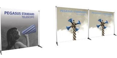 telescopic backwall, media wall graphic, banner system, trade show display, trade show backwall