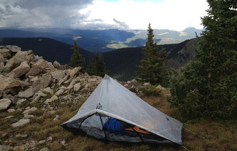 Tent at 11,500 feet on ridge in storm.