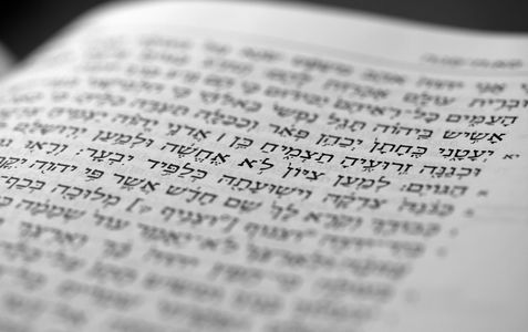 Hebrew text in open book.