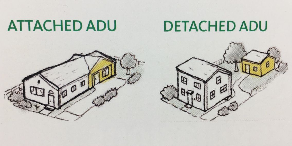 Attached ADU to the main house or  Detached ADU from the main house.