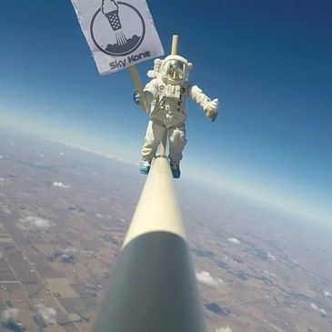 Advertising from the atmosphere with the help of a weather balloon from Prairie Bridges Park!