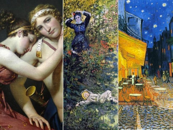 Collage of fine art images including David, Monet, Van Gogh