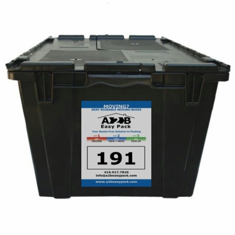 Rent durable, clean & sanitized plastic moving boxes. Purchase moving Supplies. York Region & GTA.
