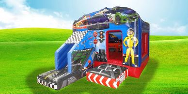 Racing Car Bouncy Castle Slide Hire Plymouth