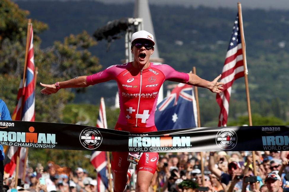 Daniela Ryf of Switzerland setting the course record  to win the 2018 IRONMAN World Championship