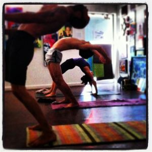 Yoga practitioners including Jeremy Drew at Blue Sky Yoga in downtown Las Vegas, 2012 or so