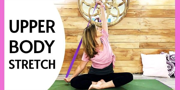 Yoga stretch for the shoulders and upper back to release tension and tightness.