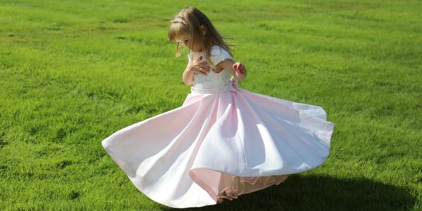Blush pink flower girl dress made by Susie Grist Couture