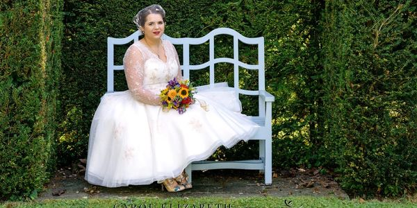 Mary wearing her 1950's style lace and tulle wedding dress that I altered for a perfect fit