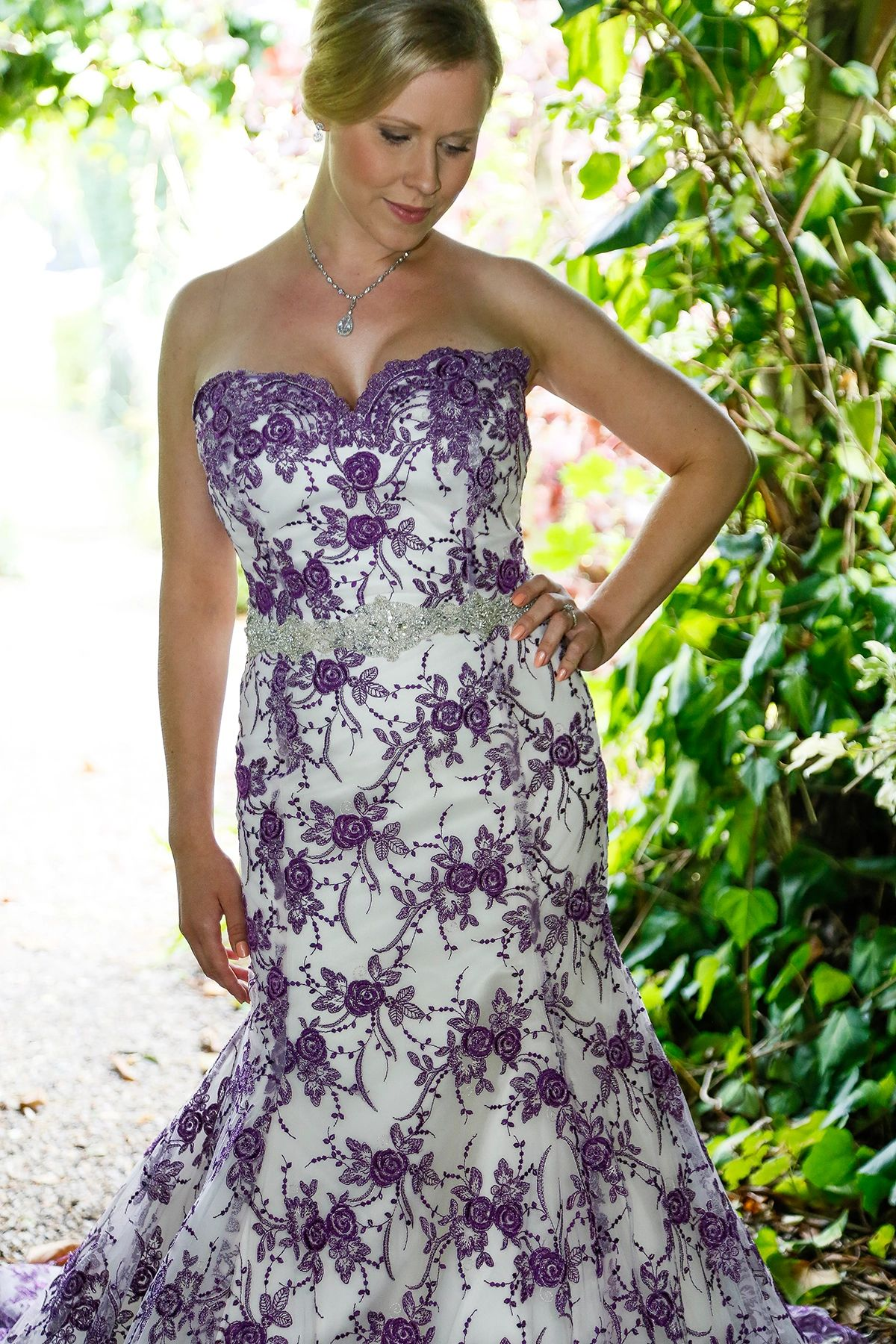 Ivory satin, purple lace wedding dress,  crystal waist band.  Susie Grist Couture SLR Photography