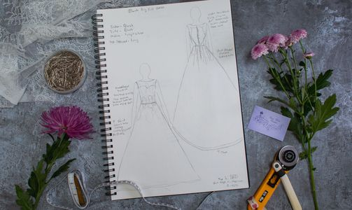 Susie Grist Couture bespoke Wedding Dress Oxfordshire. Design. Photo Sharmaine Branding Photography