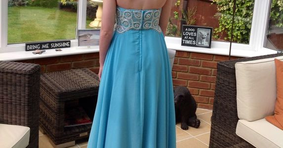 Aqua prom dress with bespoke beadwork hand sewn by Susie Grist Couture