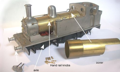 A diagram of our model locomotive parts, indicating their respective positions on a model.