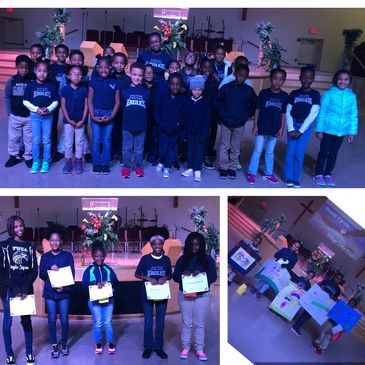 Students are recognized during Call to Worship for participating in poster and poetry contests.