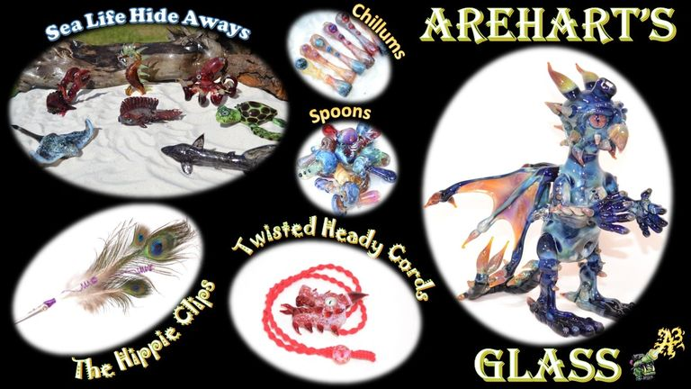 Arehart's Glass Beautiful One of a kind glass art and crafts roach clips, pipes, jewelry