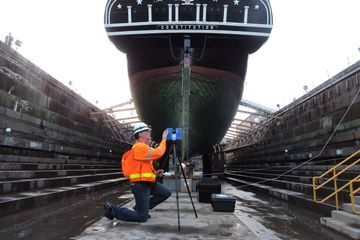Laser scanning the USS Constitution in Boston MA USA
