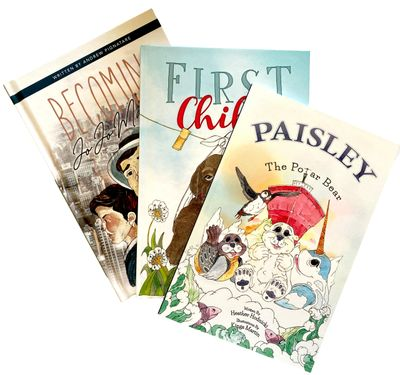"Books illustrated by Kinga Martin, ""First Child"", ""Paisley the Polar Bear"", ""Becoming JoJo MacBean""."