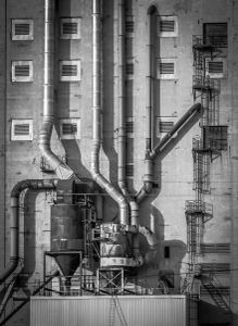 black and white industrial photography