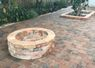 After - Castlescape and brick style pavers; Harvest blend color; Running bond pattern; Old Chicago Brown color fire pit.