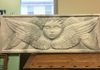 Four Winged Cherub, Foam Carving & Faux Marble Finish, 2' x 6'