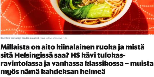 Brokadi Ravintola is the most authentic Chinese restaurant in Helsinki, researched by HS 2018.