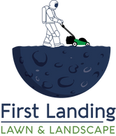 first landing lawn & landscape, man on the moon, logo
