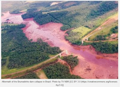 Aftermath of the Brumadrho dam collapse in Brazil. Photo by TV NBR / CC