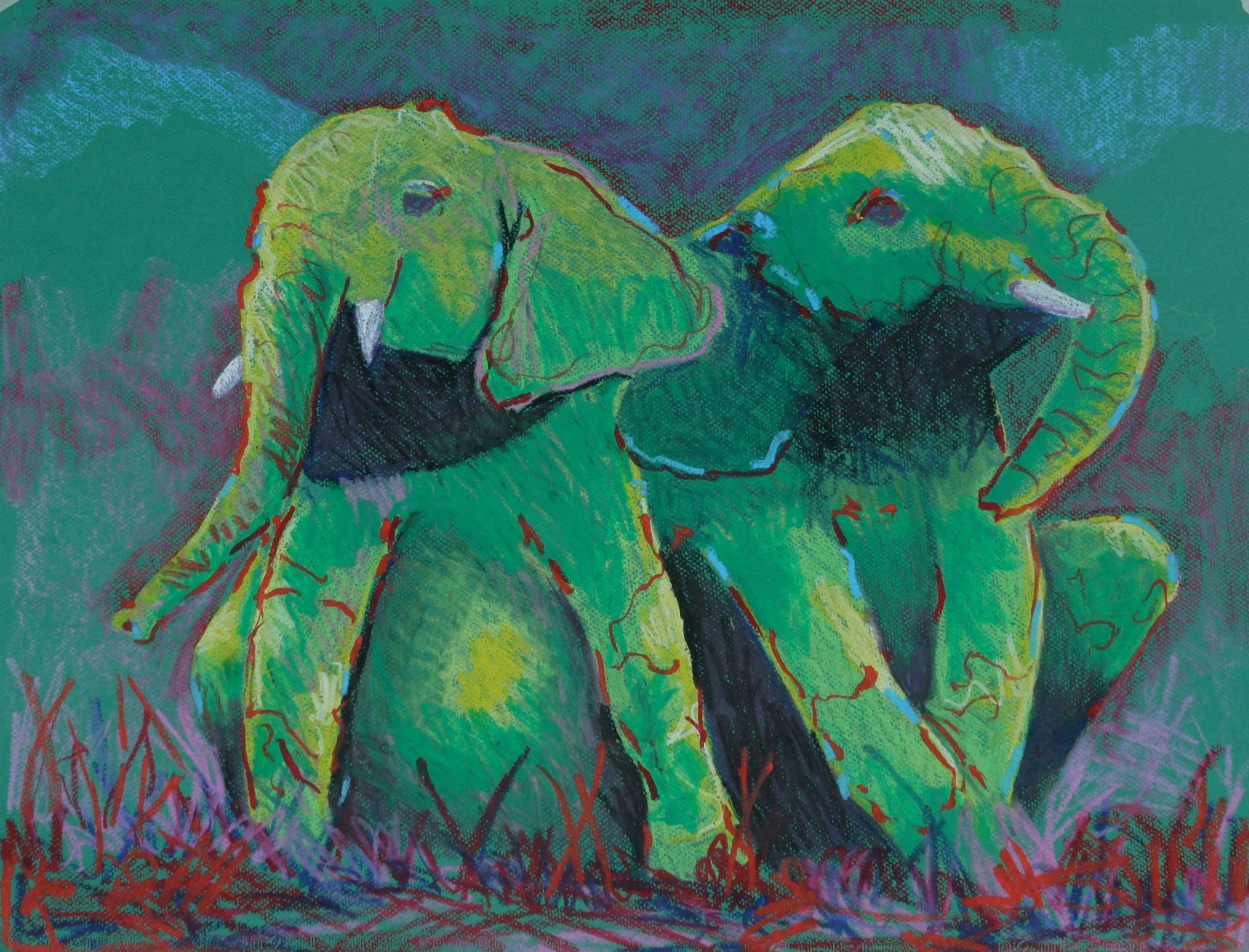 Teen elephants taking a break, Cray pas on paper